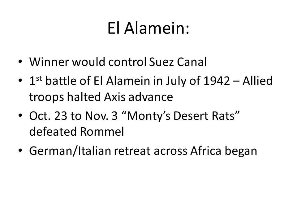 El Alamein: Winner would control Suez Canal