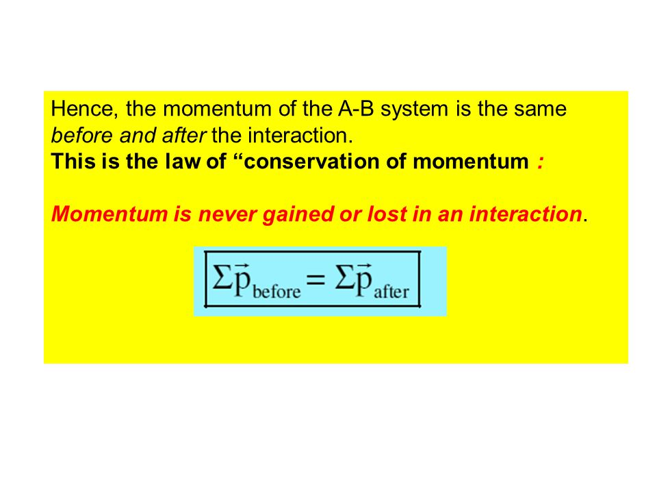 Hence, the momentum of the A-B system is the same before and after the interaction.