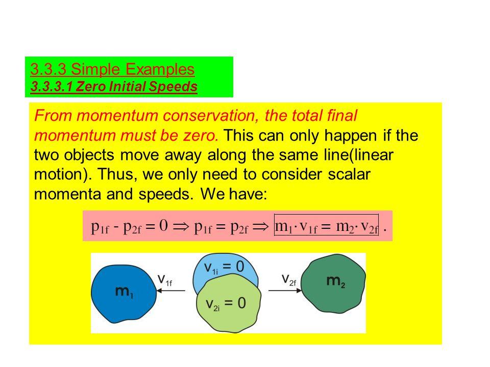 3.3.3 Simple Examples 3.3.3.1 Zero Initial Speeds.