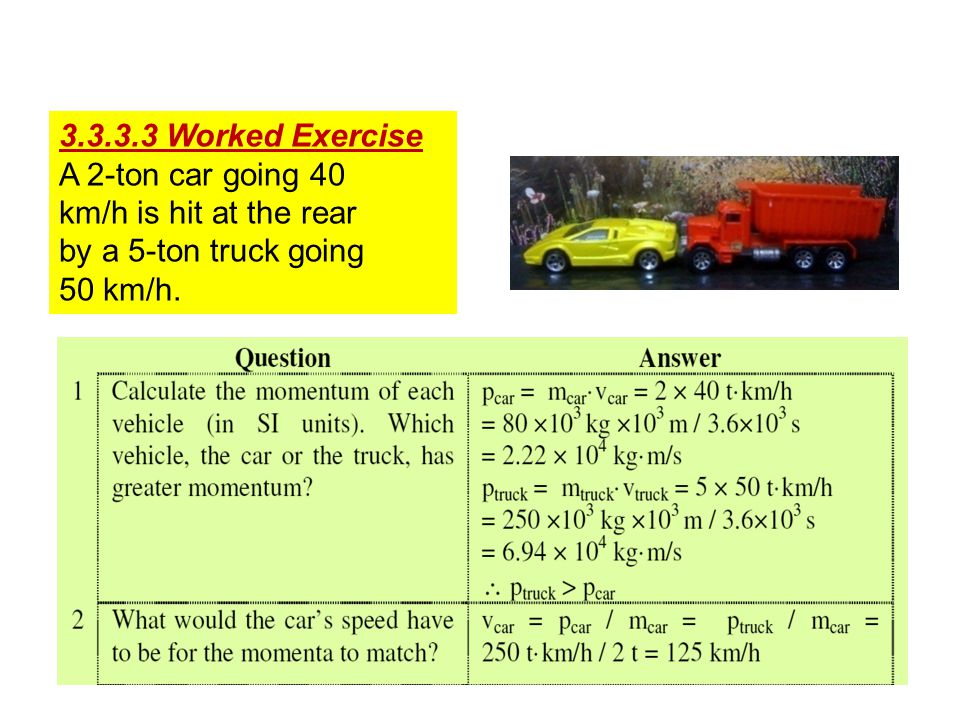 3.3.3.3 Worked Exercise A 2-ton car going 40. km/h is hit at the rear.