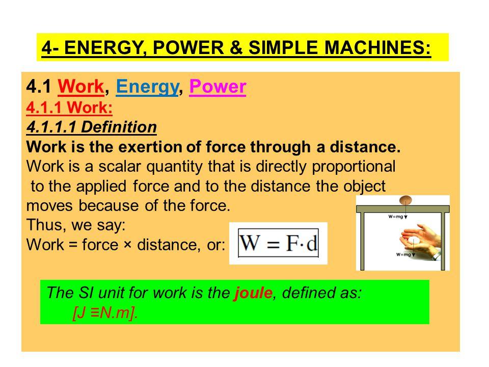 4- ENERGY, POWER & SIMPLE MACHINES: