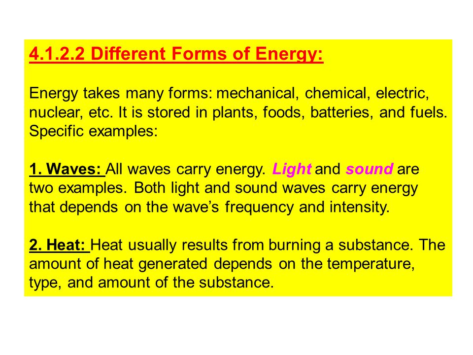 4.1.2.2 Different Forms of Energy: