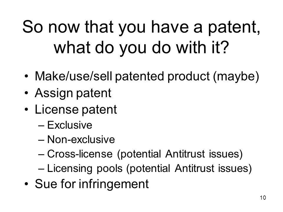 So now that you have a patent, what do you do with it