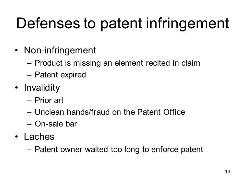 Defenses to patent infringement