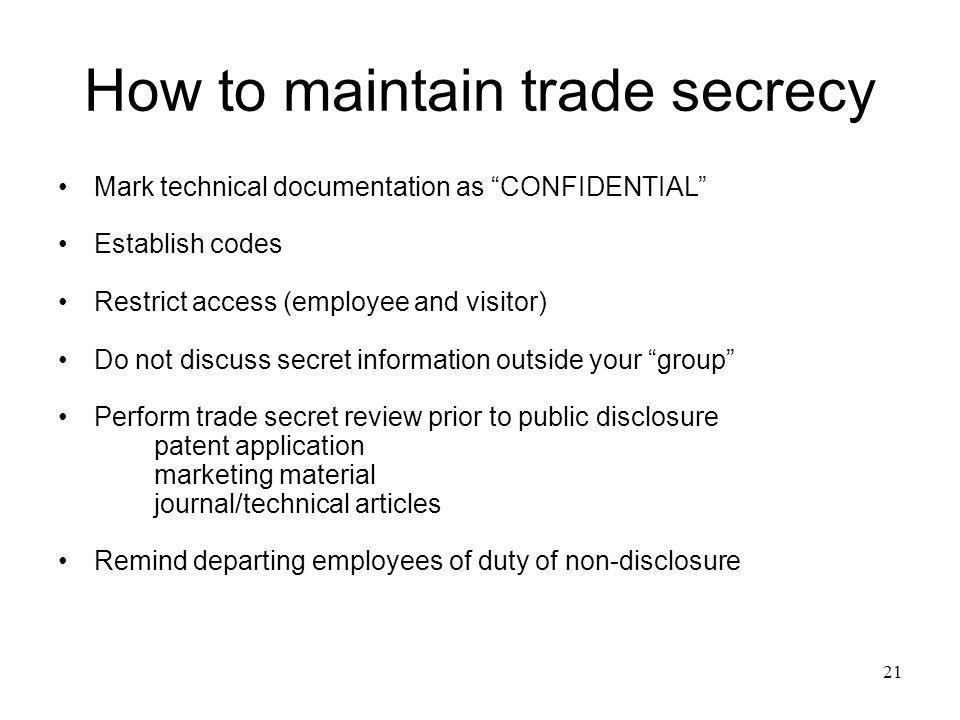 How to maintain trade secrecy