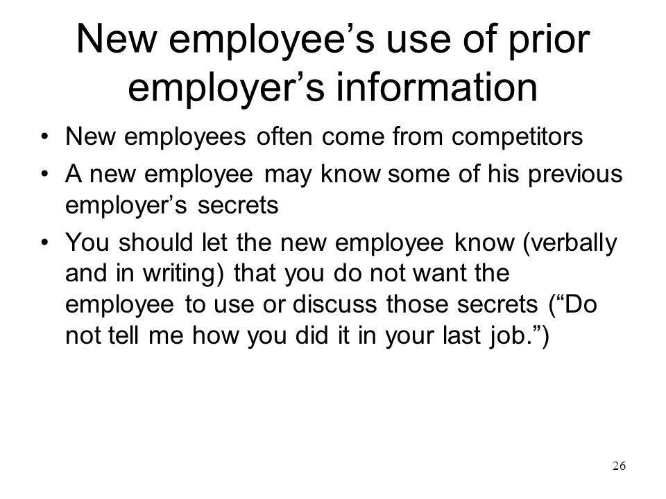 New employee's use of prior employer's information