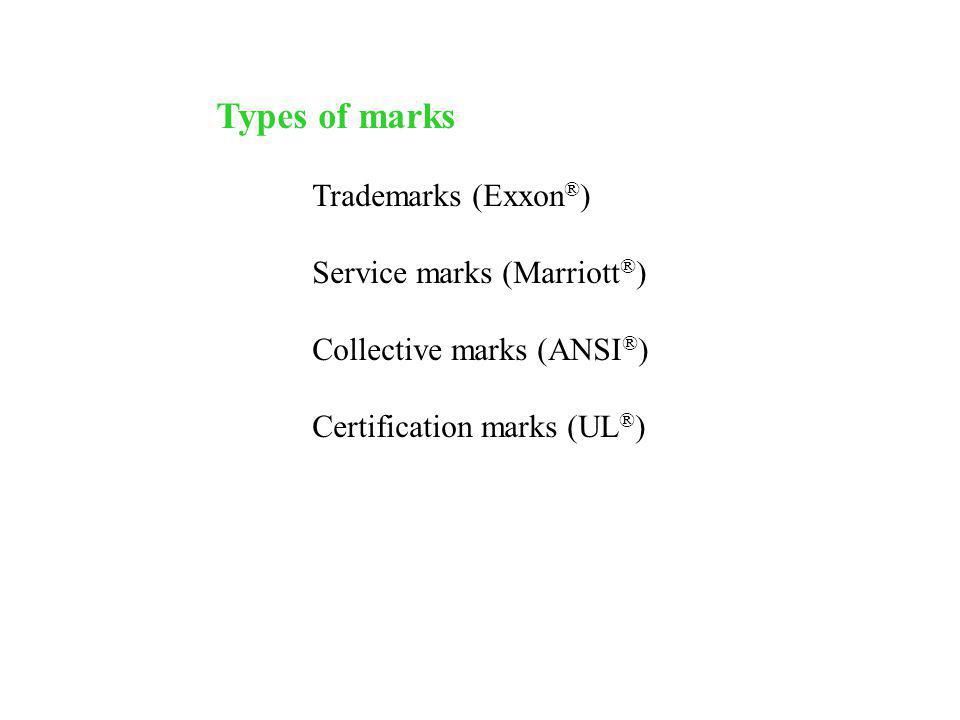 Types of marks Trademarks (Exxon®) Service marks (Marriott®)