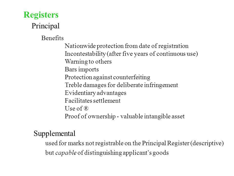 Registers Principal Supplemental