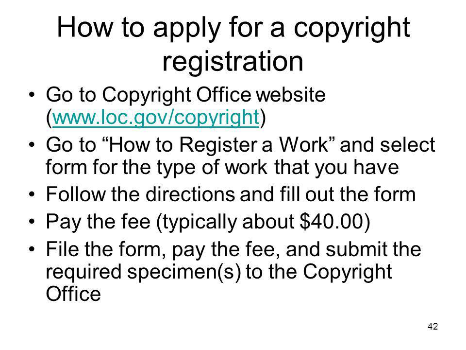How to apply for a copyright registration