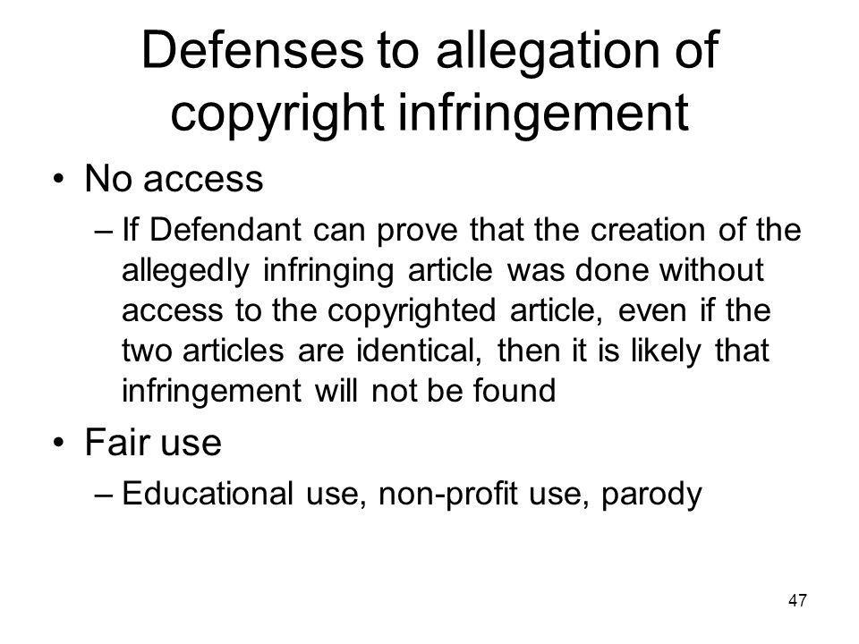 Defenses to allegation of copyright infringement