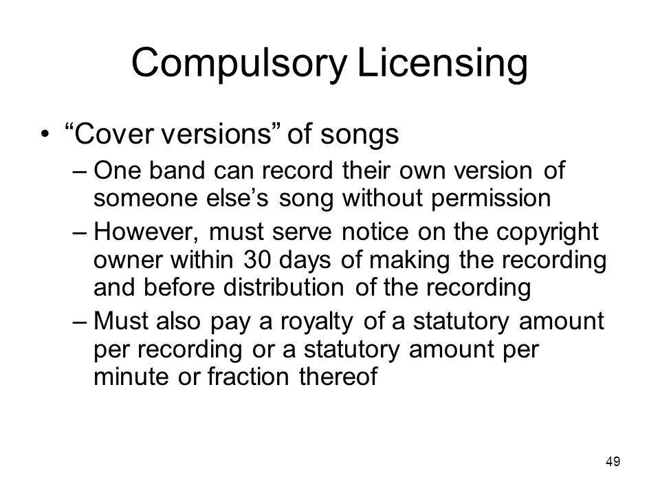 Compulsory Licensing Cover versions of songs