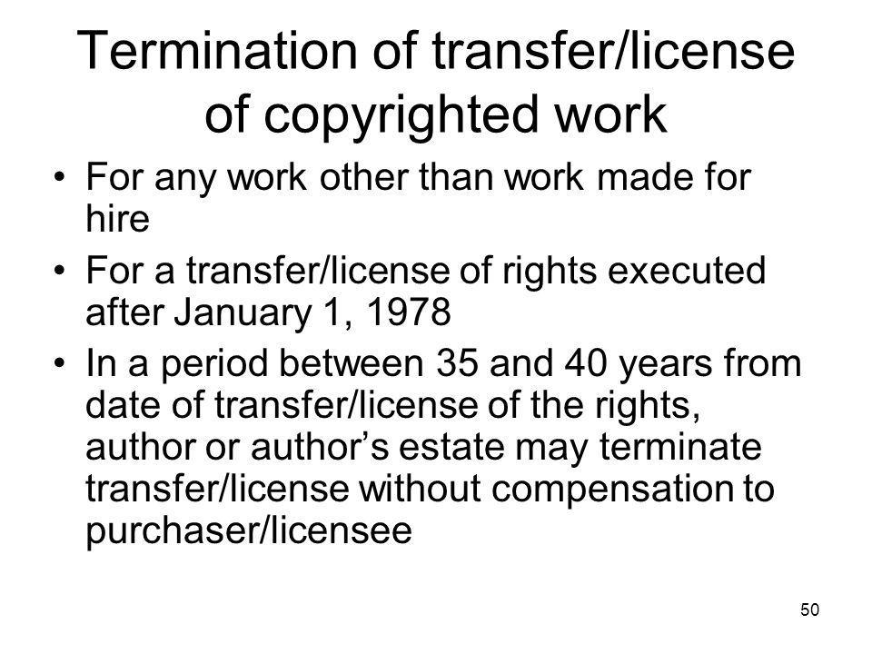 Termination of transfer/license of copyrighted work