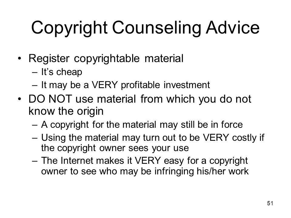 Copyright Counseling Advice