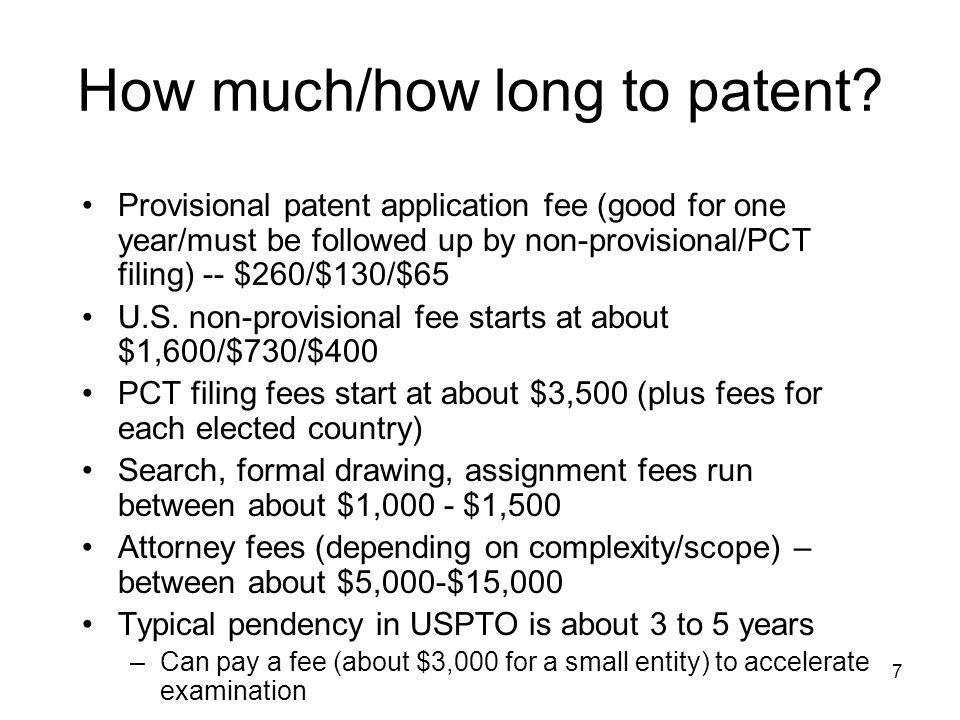 How much/how long to patent