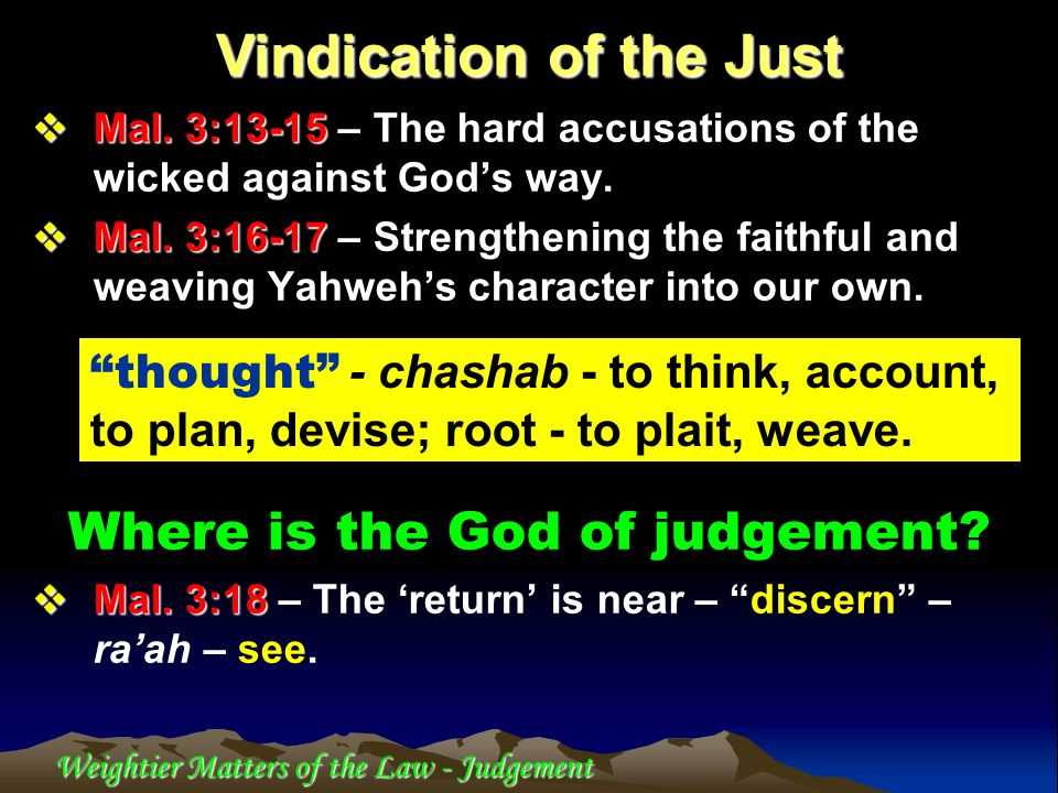 Vindication of the Just