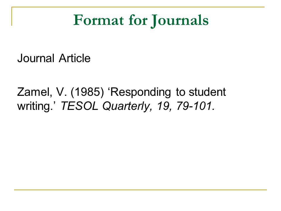 Format for Journals Journal Article