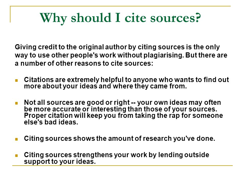 Why should I cite sources