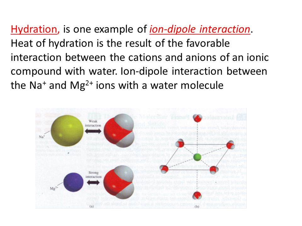 Hydration, is one example of ion-dipole interaction