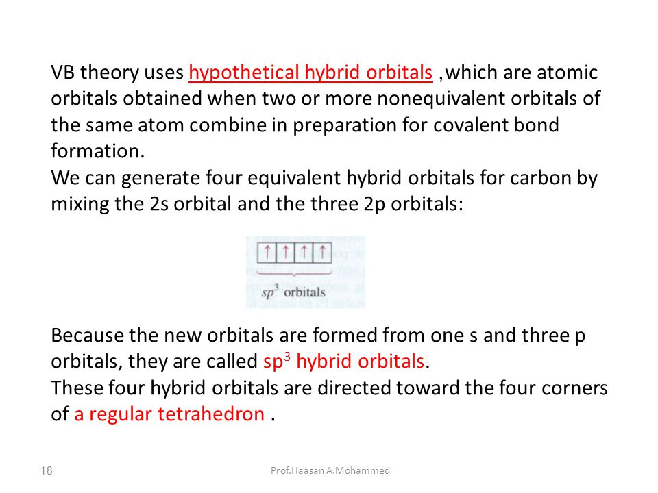 VB theory uses hypothetical hybrid orbitals, which are atomic orbitals obtained when two or more nonequivalent orbitals of the same atom combine in preparation for covalent bond formation.