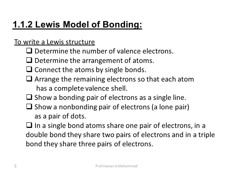 1.1.2 Lewis Model of Bonding: