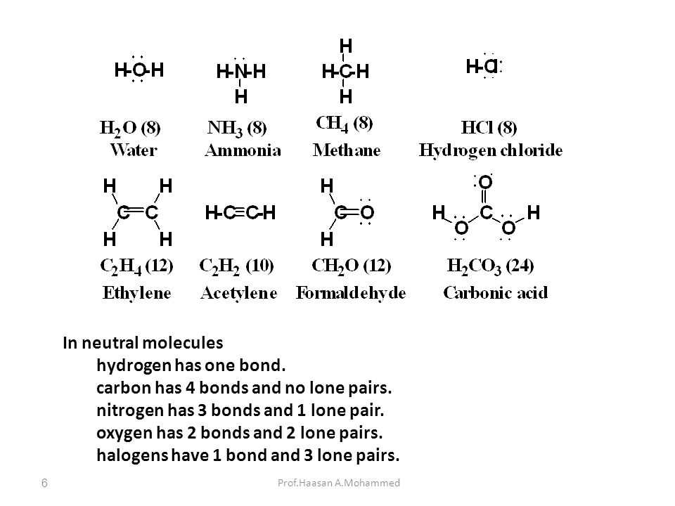 carbon has 4 bonds and no lone pairs.