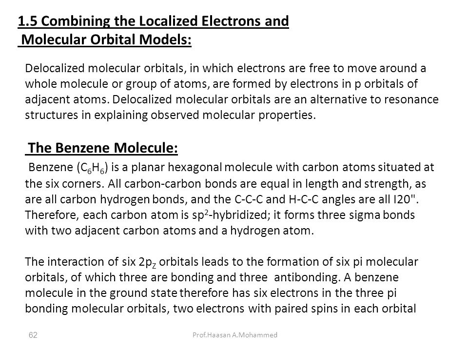 1.5 Combining the Localized Electrons and Molecular Orbital Models: