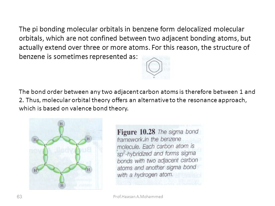 The pi bonding molecular orbitals in benzene form delocalized molecular orbitals, which are not confined between two adjacent bonding atoms, but actually extend over three or more atoms. For this reason, the structure of benzene is sometimes represented as: