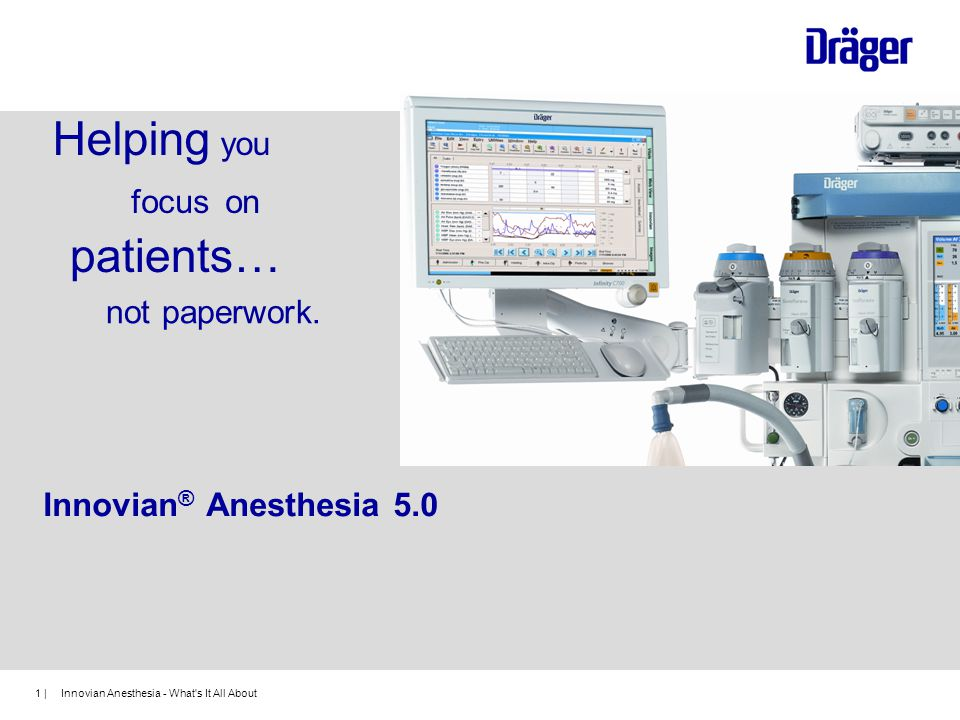 Helping you patients… focus on not paperwork. Innovian® Anesthesia 5.0