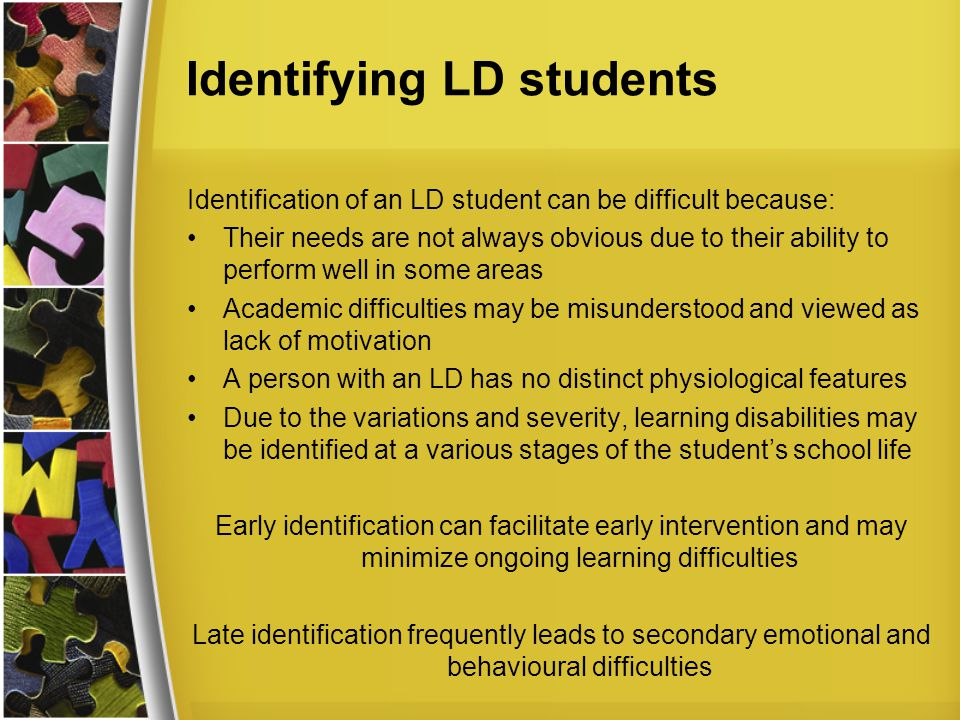 Identifying LD students