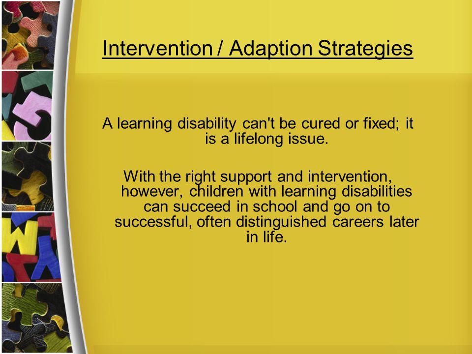 Intervention / Adaption Strategies