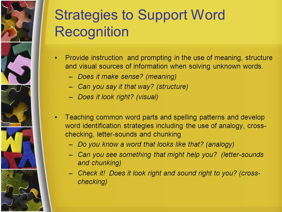 Strategies to Support Word Recognition