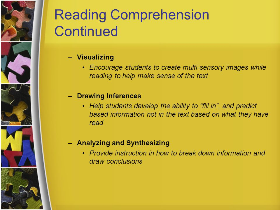 Reading Comprehension Continued