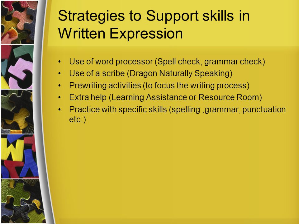 Strategies to Support skills in Written Expression