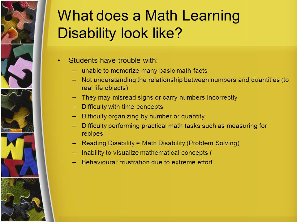 What does a Math Learning Disability look like