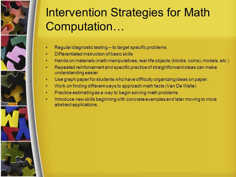 Intervention Strategies for Math Computation…