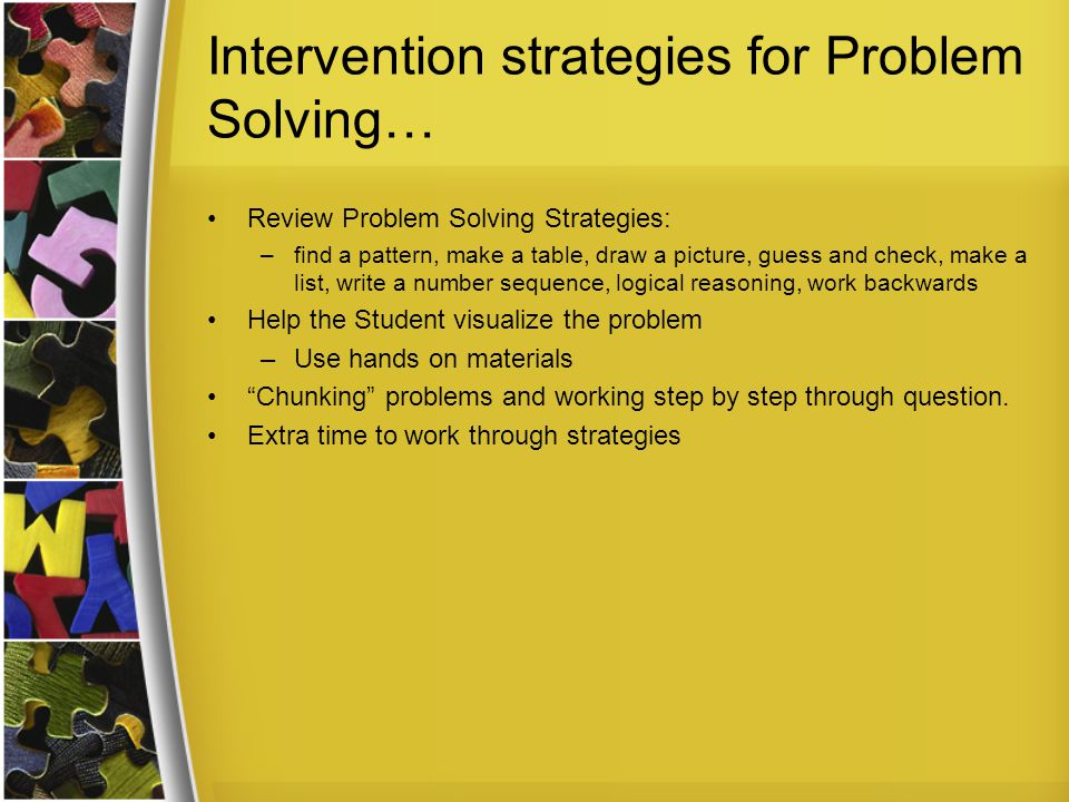 Intervention strategies for Problem Solving…