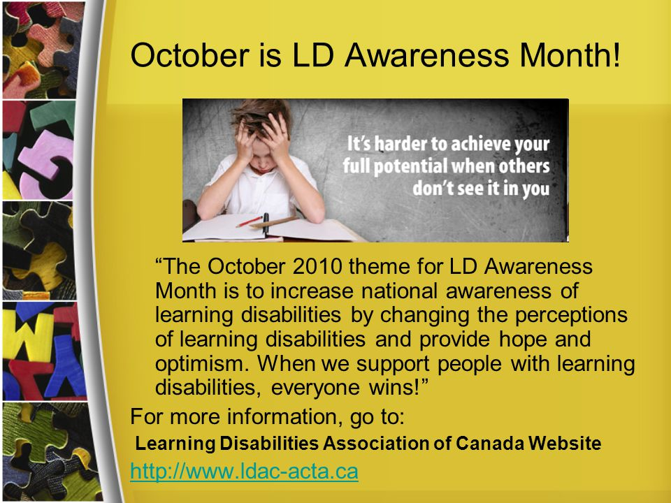 October is LD Awareness Month!