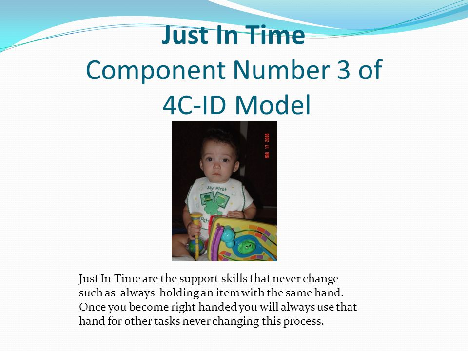 Just In Time Component Number 3 of 4C-ID Model