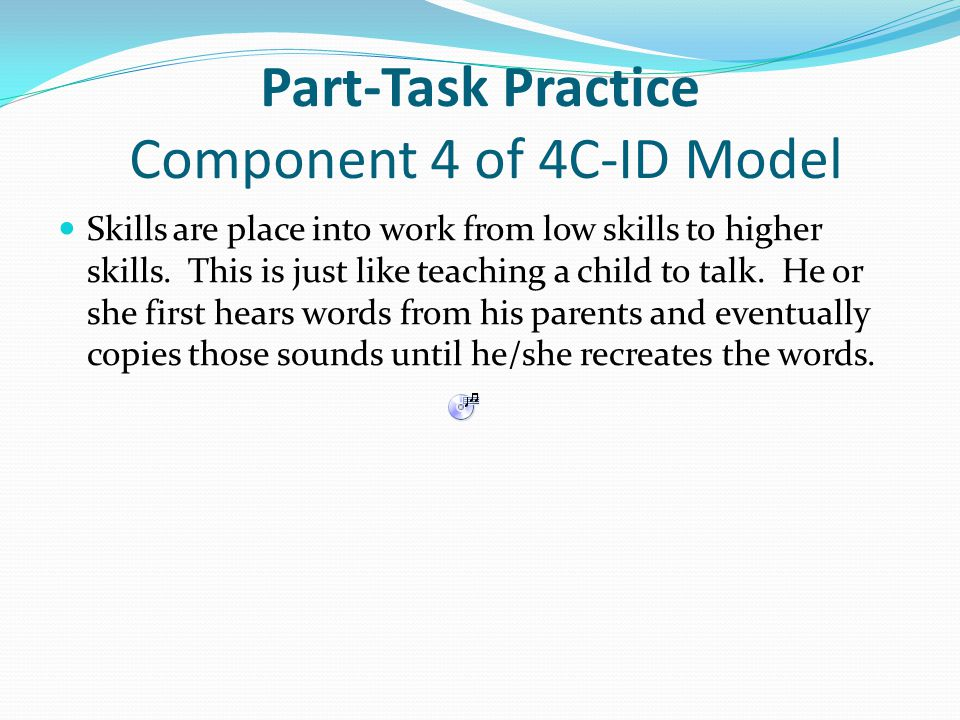 Part-Task Practice Component 4 of 4C-ID Model