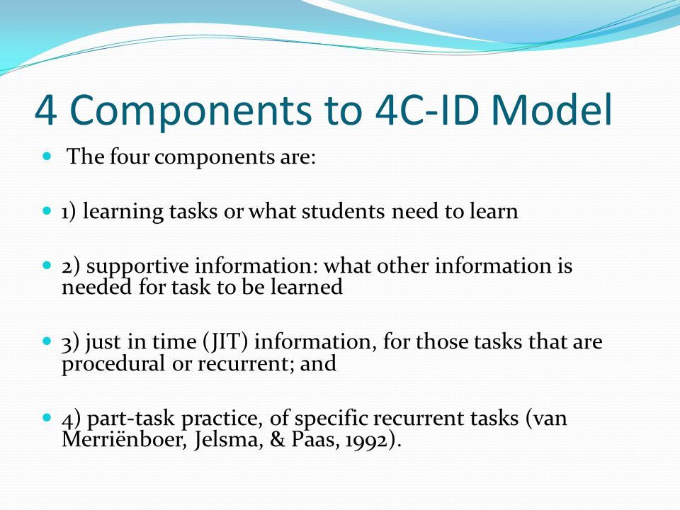4 Components to 4C-ID Model