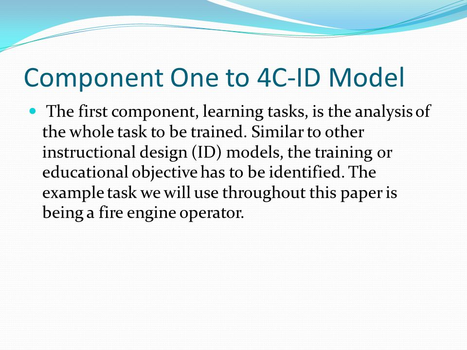 Component One to 4C-ID Model
