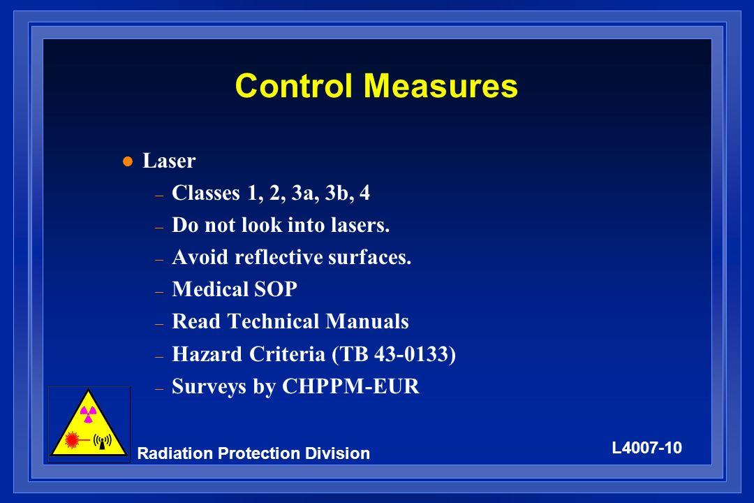 Control Measures Laser Classes 1, 2, 3a, 3b, 4