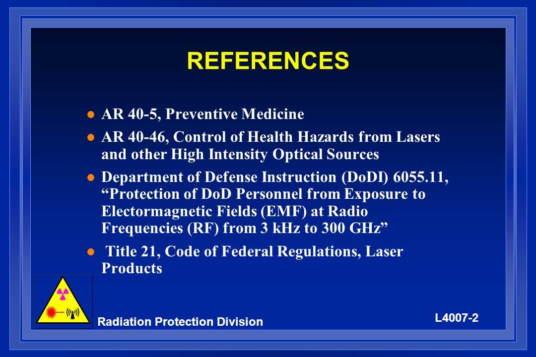 REFERENCES AR 40-5, Preventive Medicine