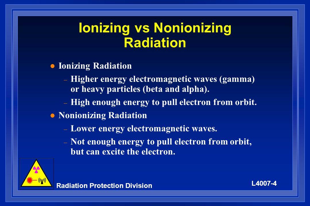 Ionizing vs Nonionizing Radiation