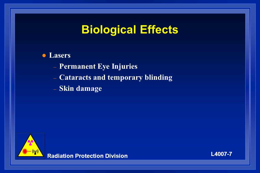 Biological Effects Lasers Permanent Eye Injuries