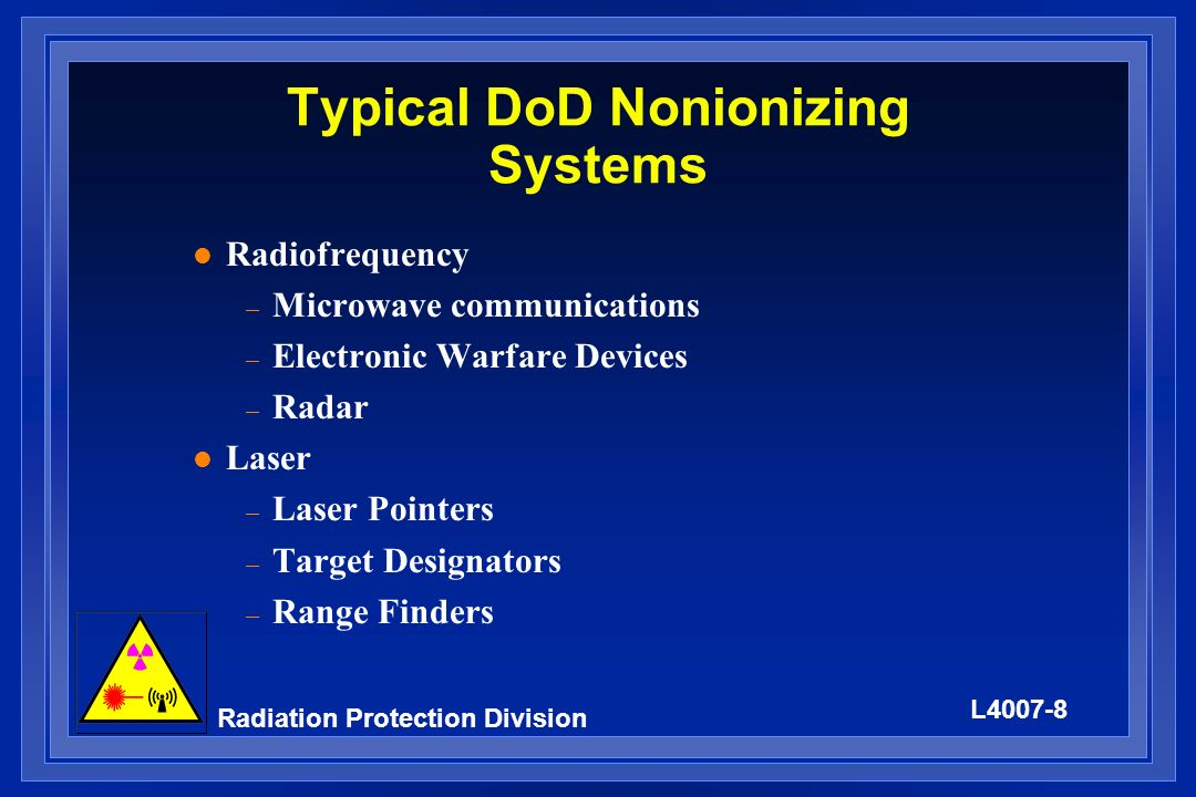Typical DoD Nonionizing Systems