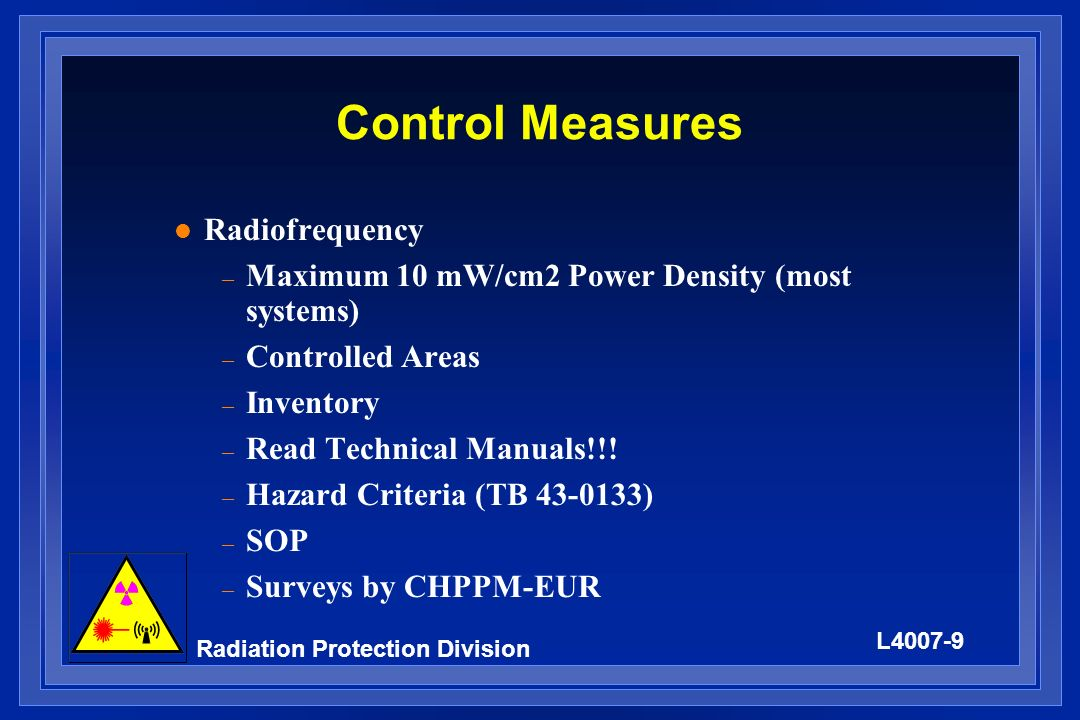Control Measures Radiofrequency