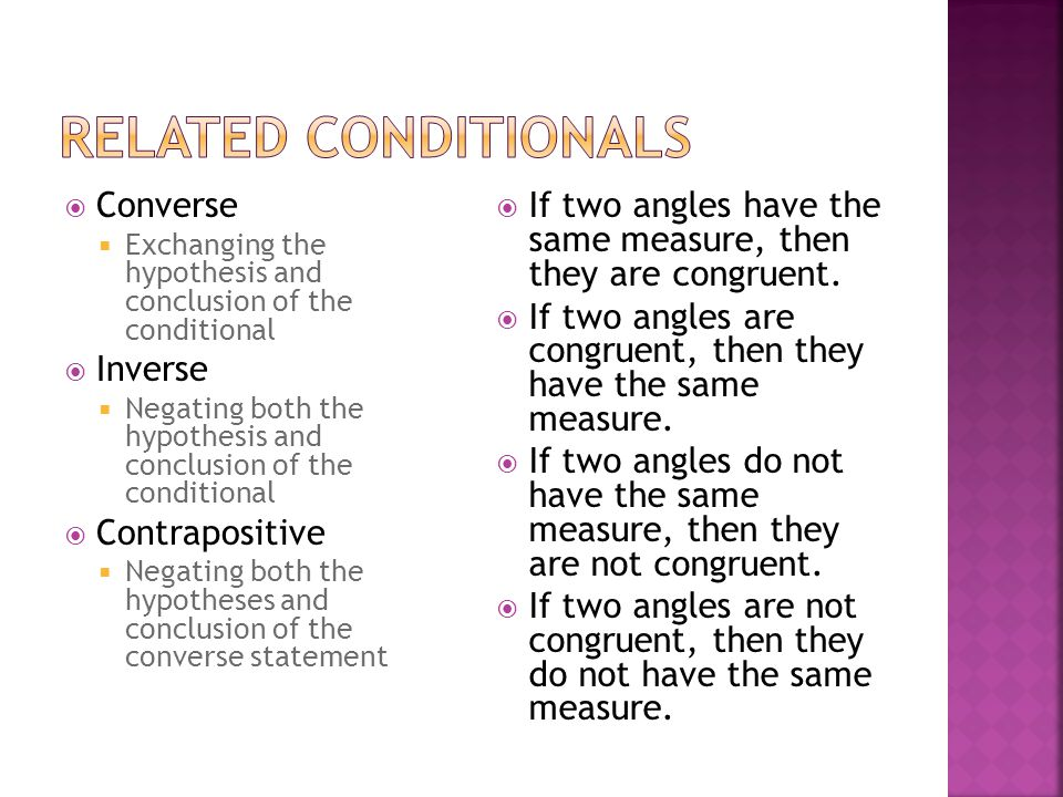 Related Conditionals Converse Inverse Contrapositive