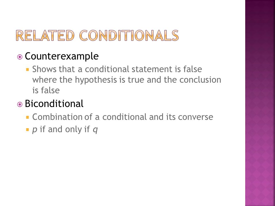 Related Conditionals Counterexample Biconditional