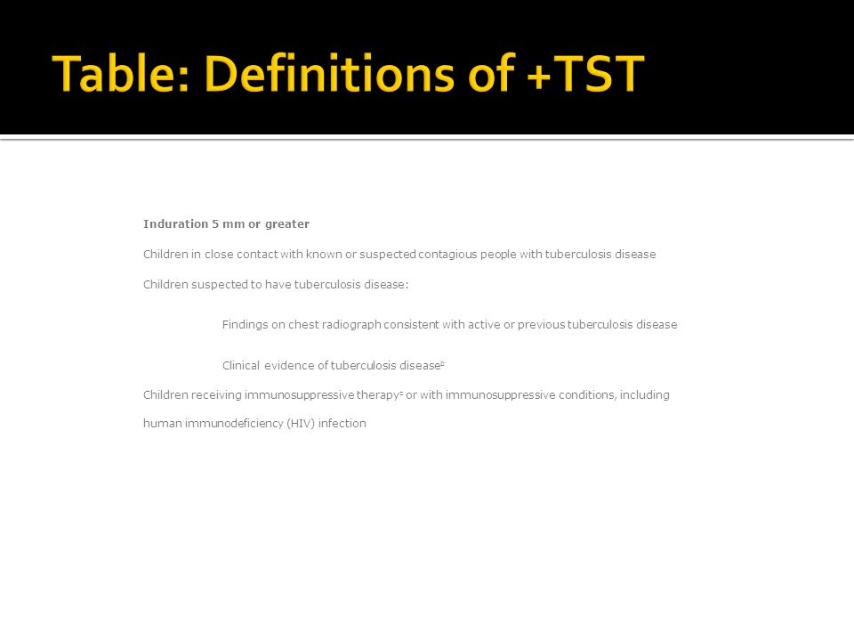 Table: Definitions of +TST